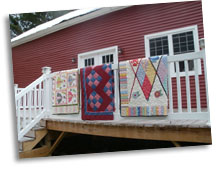 Barn with quilts